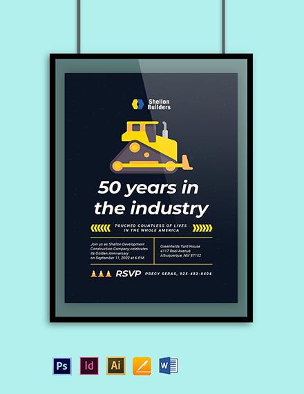 Construction Company Anniversary Invitation Template