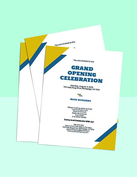 Grand Opening Construction Company Invitation Template sample