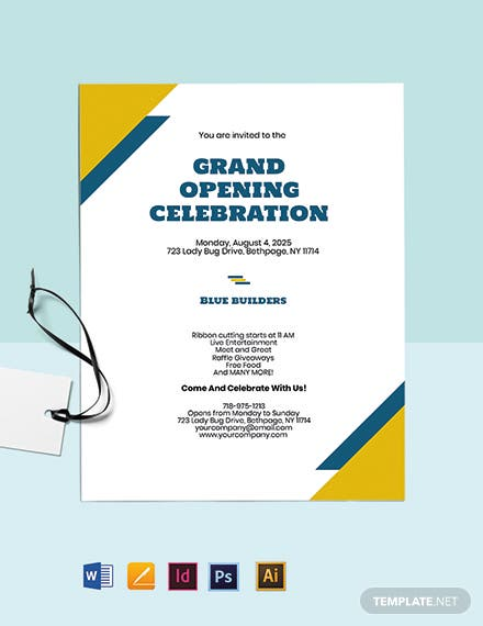 Grand Opening Construction Company Invitation Template