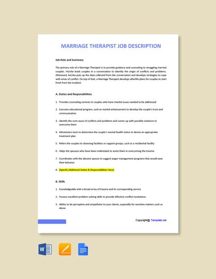 Free Marriage Therapist Job Ad/Description Template