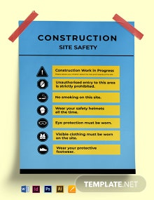 Construction Site Safety Poster Template
