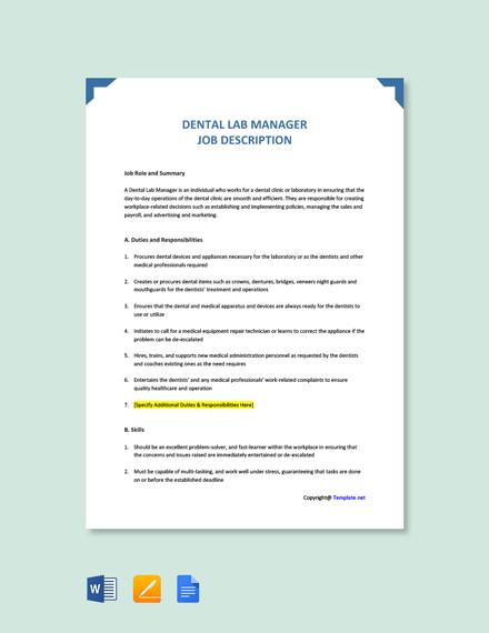 Free Dental Lab Manager Job Description Template
