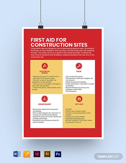 First Aid for Construction Sites Poster Template