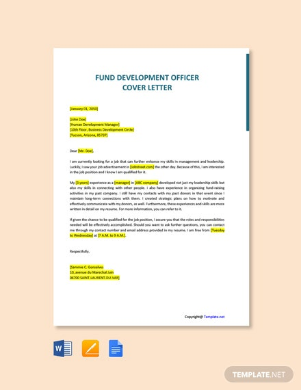 Free Fund Development Officer Cover Letter Template