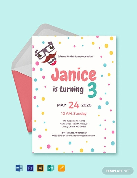 FREE Funny Kids Party Invitation Template Download 820 Invitations