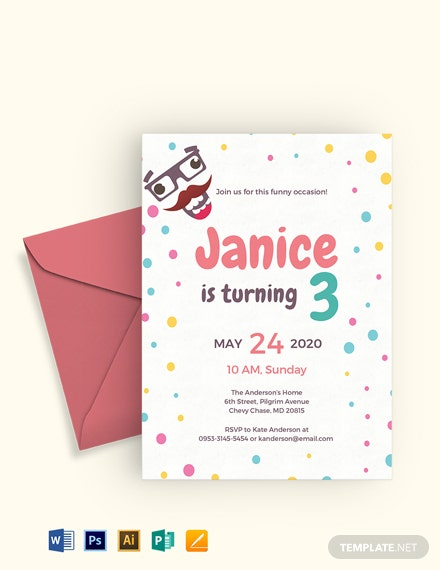 Free Funny Kid's Party Invitation Template