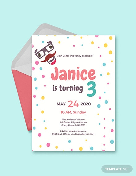 Free Funny Kids Party Invitation Template