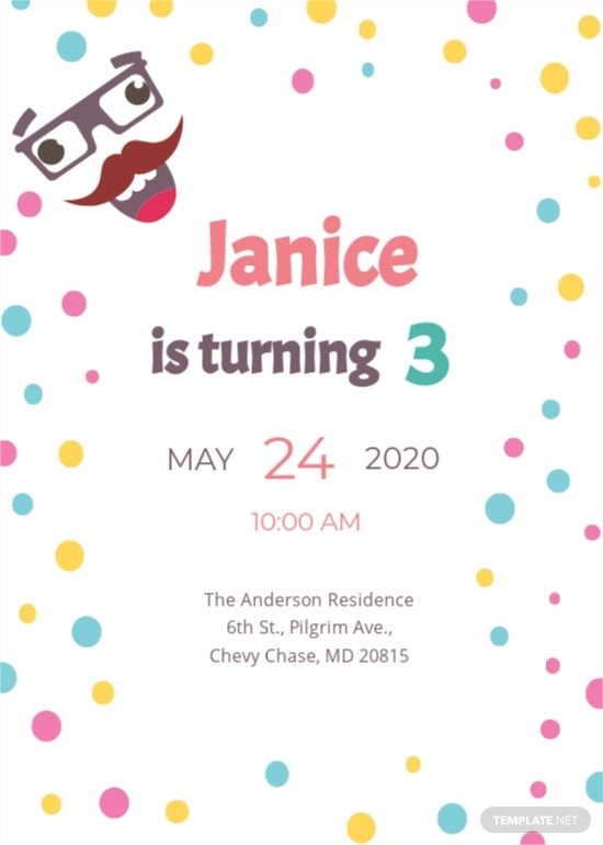 Funny Kid's Party Invitation Template
