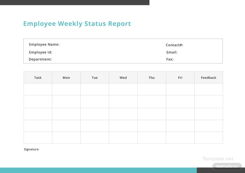 employee weekly status report template in microsoft word