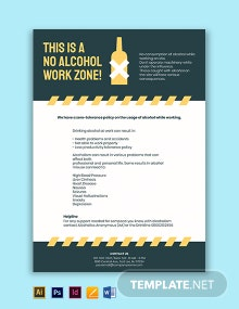Free Editable Alcohol at Work Poster Template