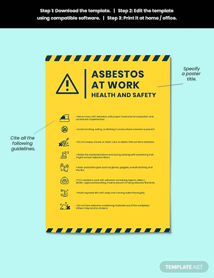 Asbestos At Work Health And Safety Poster format