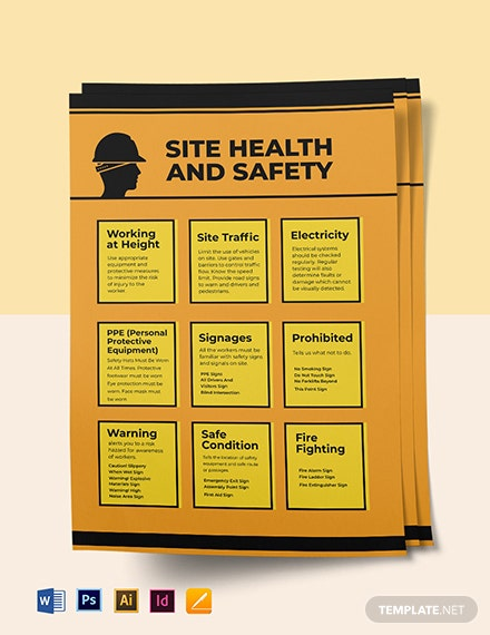 Construction Site Health and Safety Poster Template Format