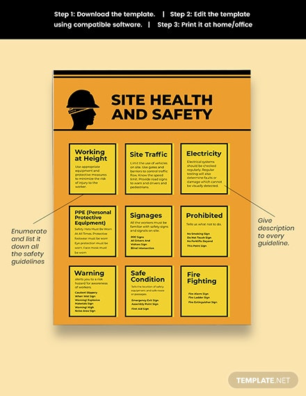 Construction Site Health and Safety Poster Template Sample