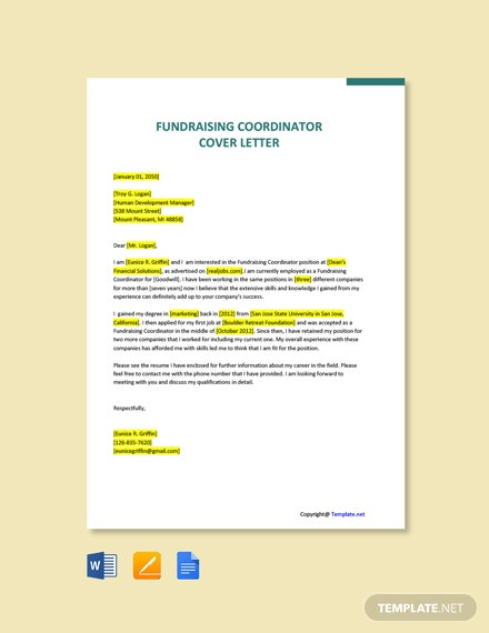 Free Fundraising Coordinator Cover Letter Template