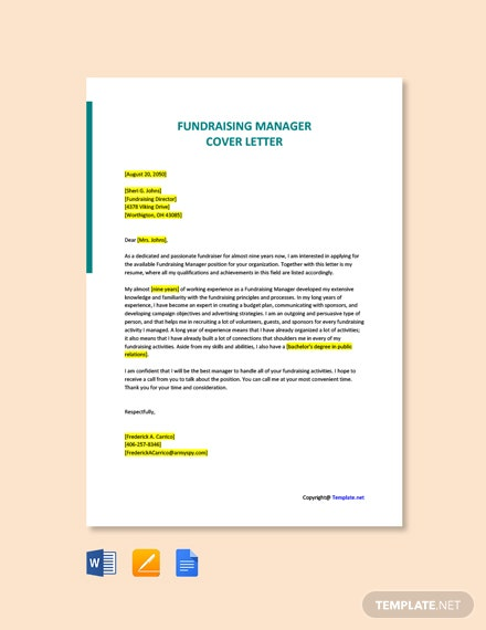 Free Fundraising Manager Cover Letter Template