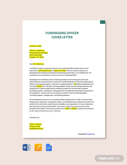 Free Fundraising Officer Cover Letter Template