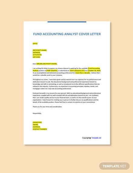 Free Fund Accounting Analyst Cover Letter Template
