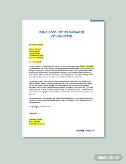 Fund Accounting Manager Cover Letter Template