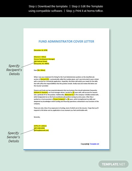 Free Fund Administrator Cover Letter Word Google Doc Apple