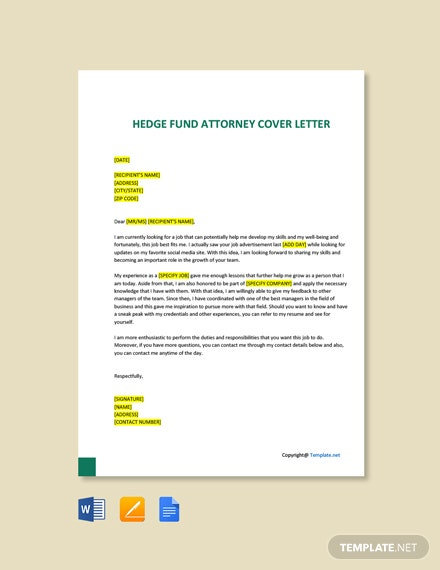 Free Hedge Fund Attorney Cover Letter Template