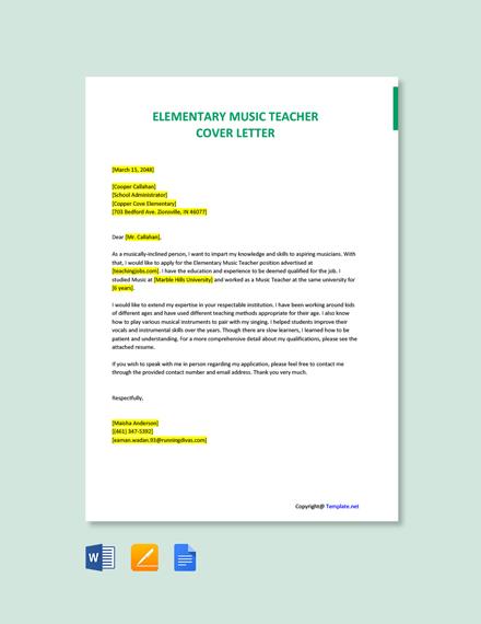 Free Elementary Music Teacher Cover Letter Template