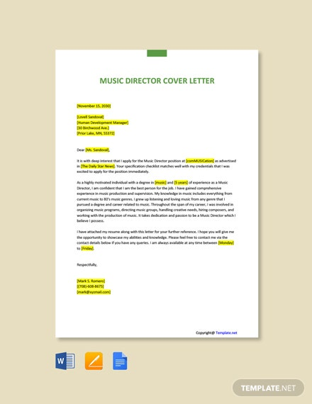 Music Director Cover Letter Template