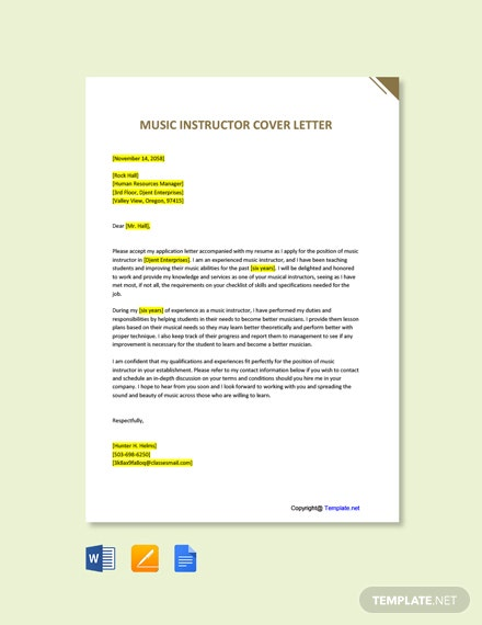 Free Music Instructor Cover Letter Template