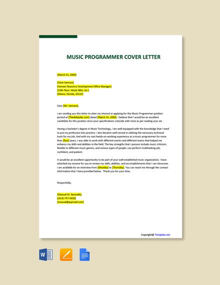Free Music Programmer Cover Letter Template