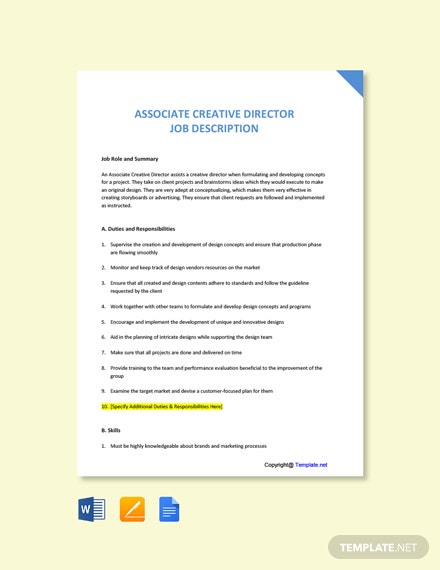 Free Associate Creative Director Job Description Template