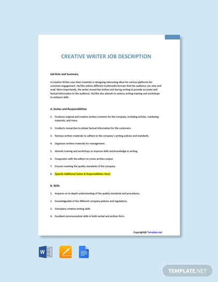 Free Creative Writer Job Ad and Description Template