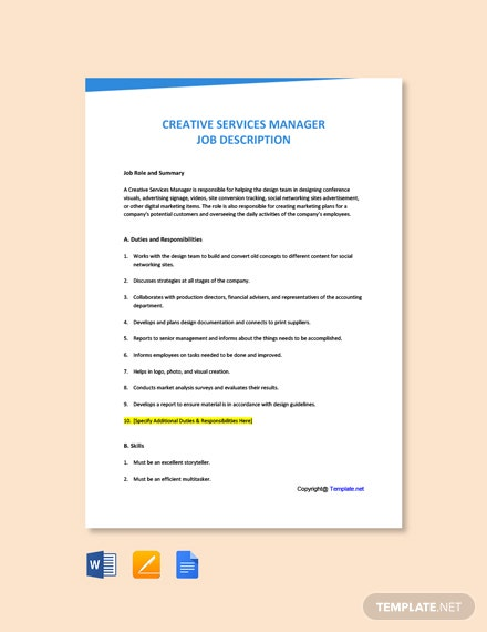Free Creative Services Manager Job Ad and Description Template
