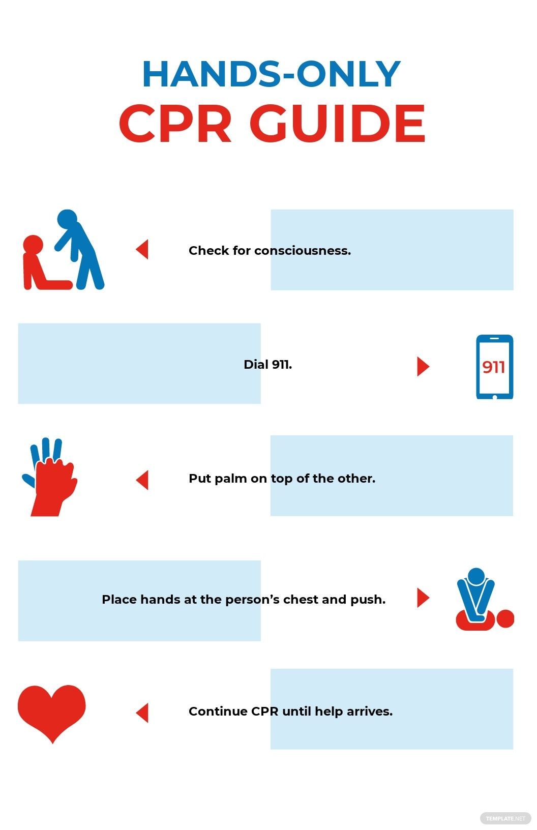 Hands Only CPR Poster Template [Free JPG] - Illustrator, InDesign, Word, Apple Pages