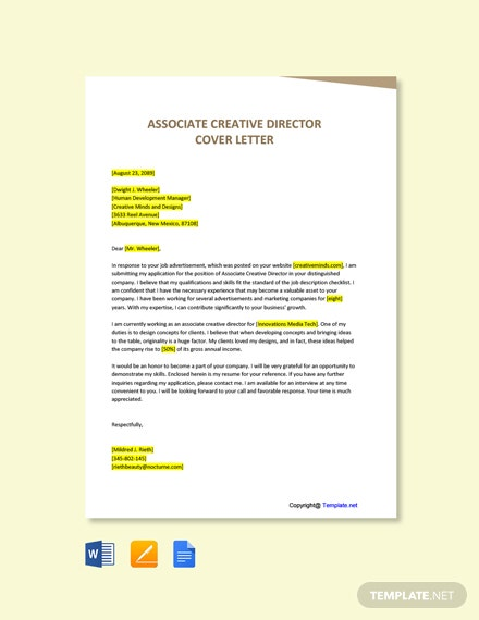 Free Associate Creative Director Cover Letter Template