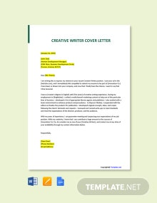 Free Creative Writer Cover Letter Template