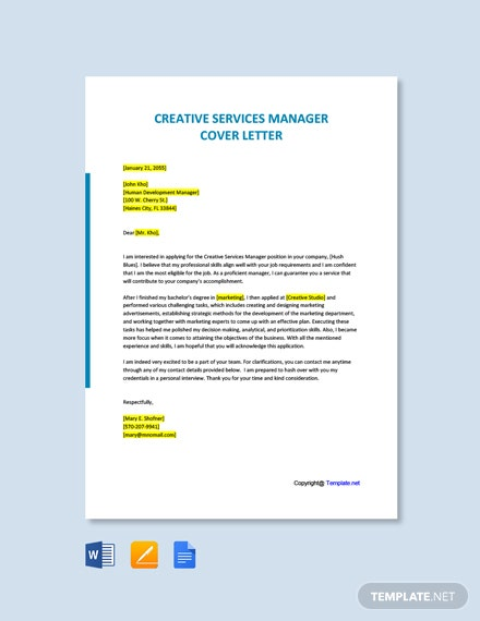 Free Creative Services Manager Cover Letter Template