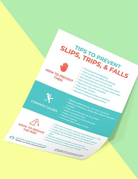 Preventing Slips Trips  Falls Poster template Format