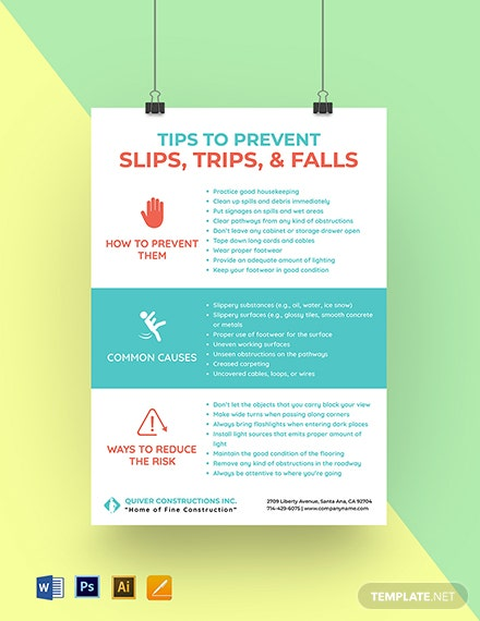 Preventing Slips, Trips & Falls Poster Template