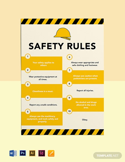 Free Safety Rules Poster Template