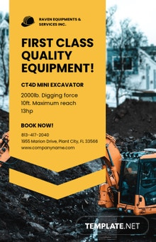 Construction Equipment Poster Template