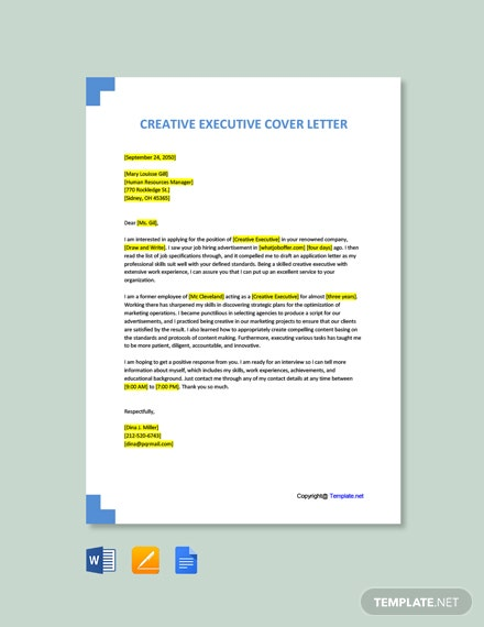 Free Creative Executive Cover Letter Template