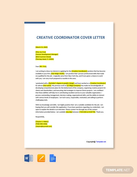 Free Creative Coordinator Cover Letter Template
