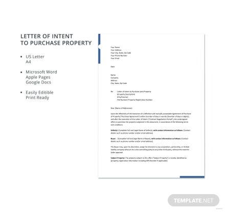 Free Letter of Intent to Purchase Property