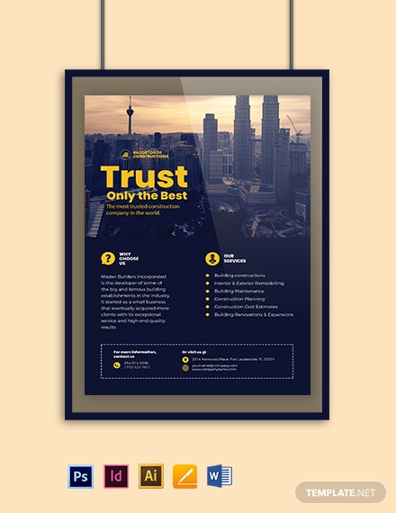 Building Construction Poster Template