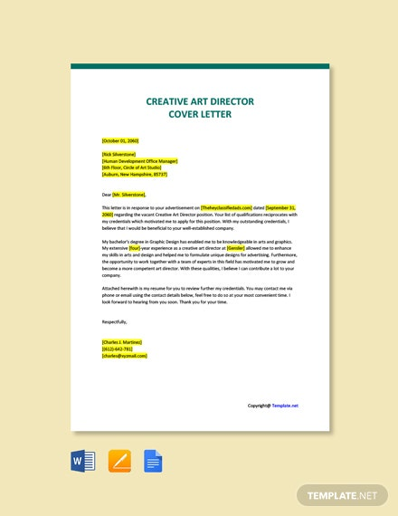 Free Creative Art Director Cover Letter Template