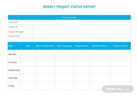 Weekly Project Status Report Template