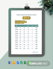 Free Format Construction Timesheet Template