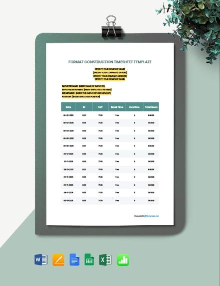 Free Format Construction Timesheet Template