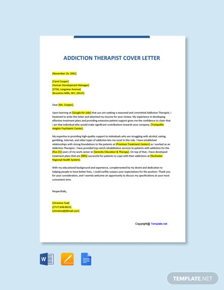 Free Addiction Therapist Cover Letter Template