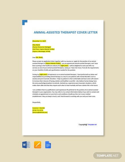 Free Animal-Assisted Therapist Cover Letter Template
