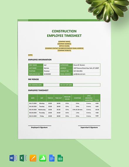 Construction Employee Timesheet Template
